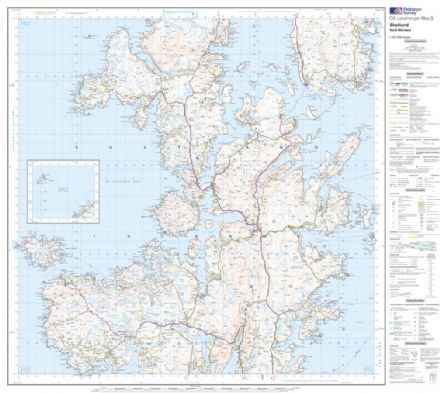 OS Landranger 03 - Shetland - North Mainland - FLAT Rolled in a Tube